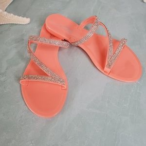 New Coral Jelly Rhinestone Sandals